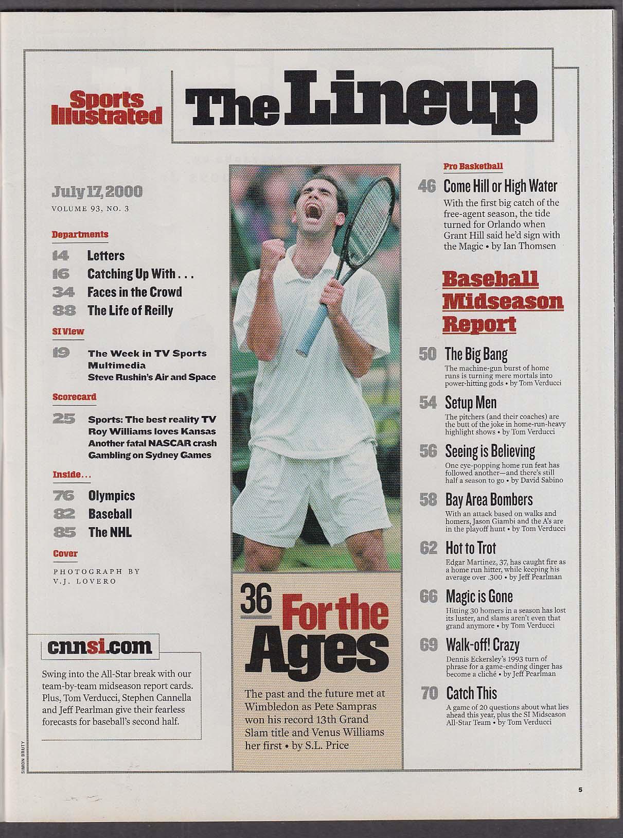 SPORTS ILLUSTRATED Jason Giambi Pete Sampras Wimbledon Grant Hill ++ 7/17 2000