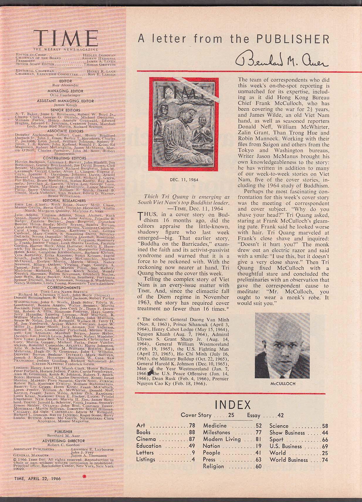 TIME South Viet Nam Buddhist Thich Tri Quang LBJ Gyrojet 4/22 1966