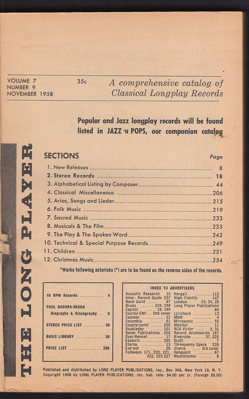 The Long Player Classical Longplay Records 11/1958