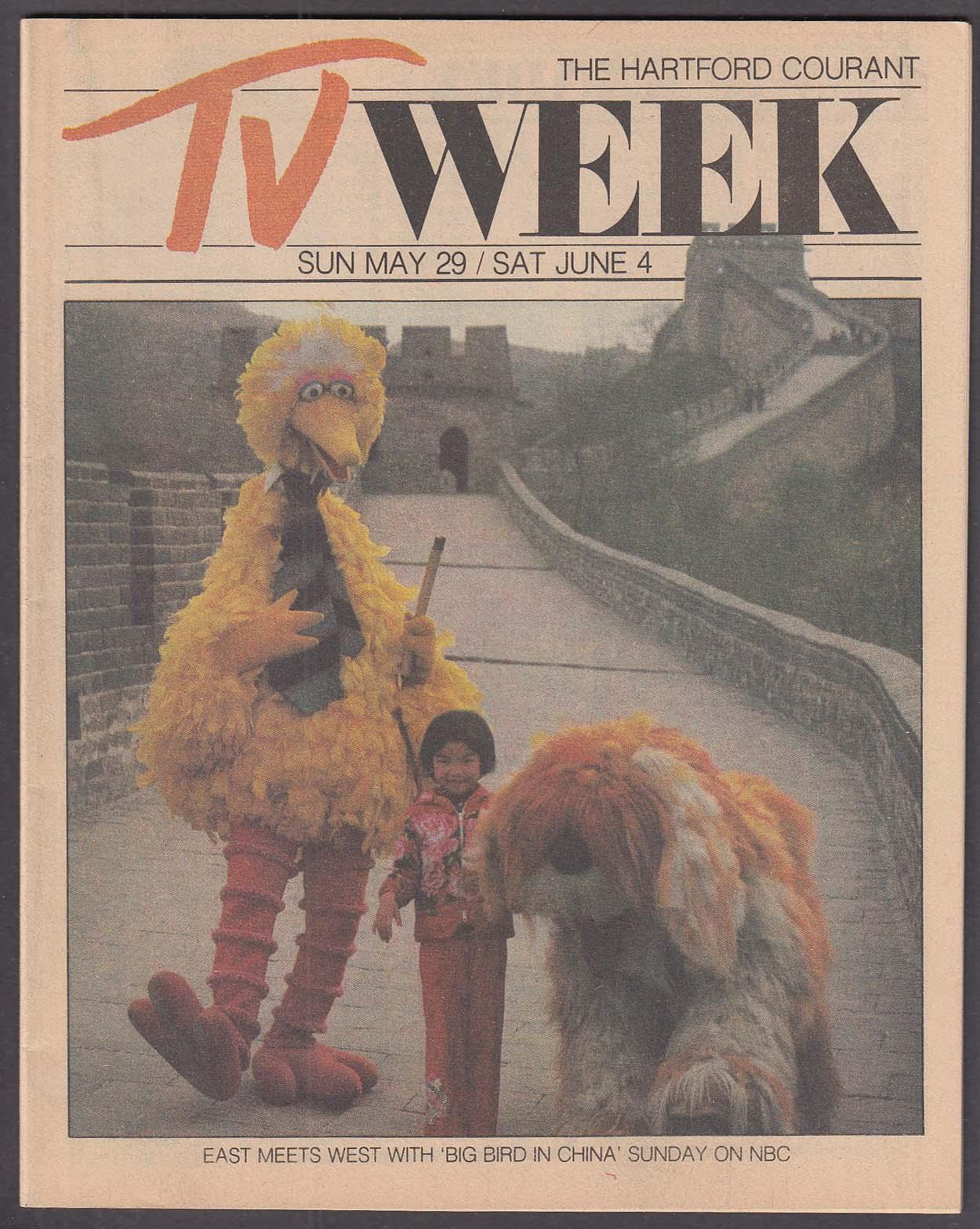 Image for TV WEEK Big Bird Sesame Street Hartford Courant ++ 5/29 1983