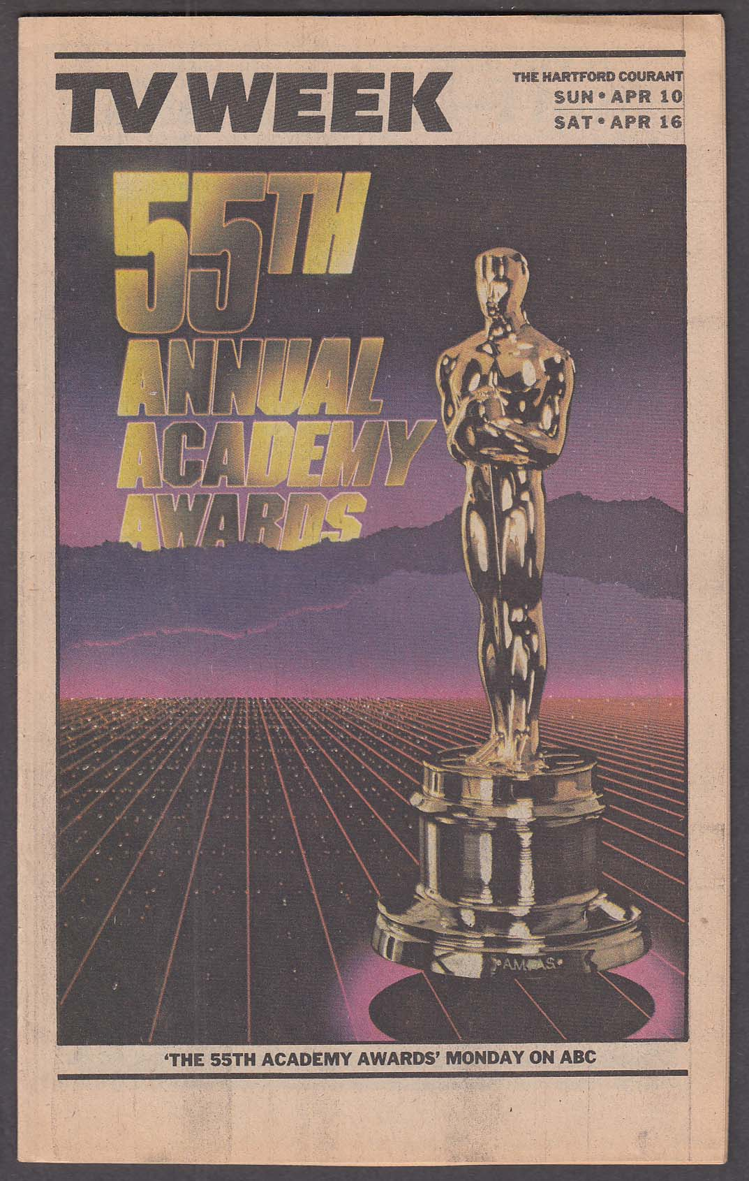 Image for TV WEEK 55th Annual Academy Awards Oscars Hartford Courant 4/10 1983