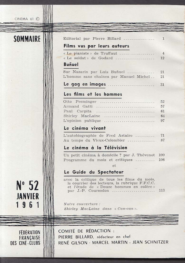 Image for CINEMA 61 Luis Bunuel Fred Astaire ++ 1 1961