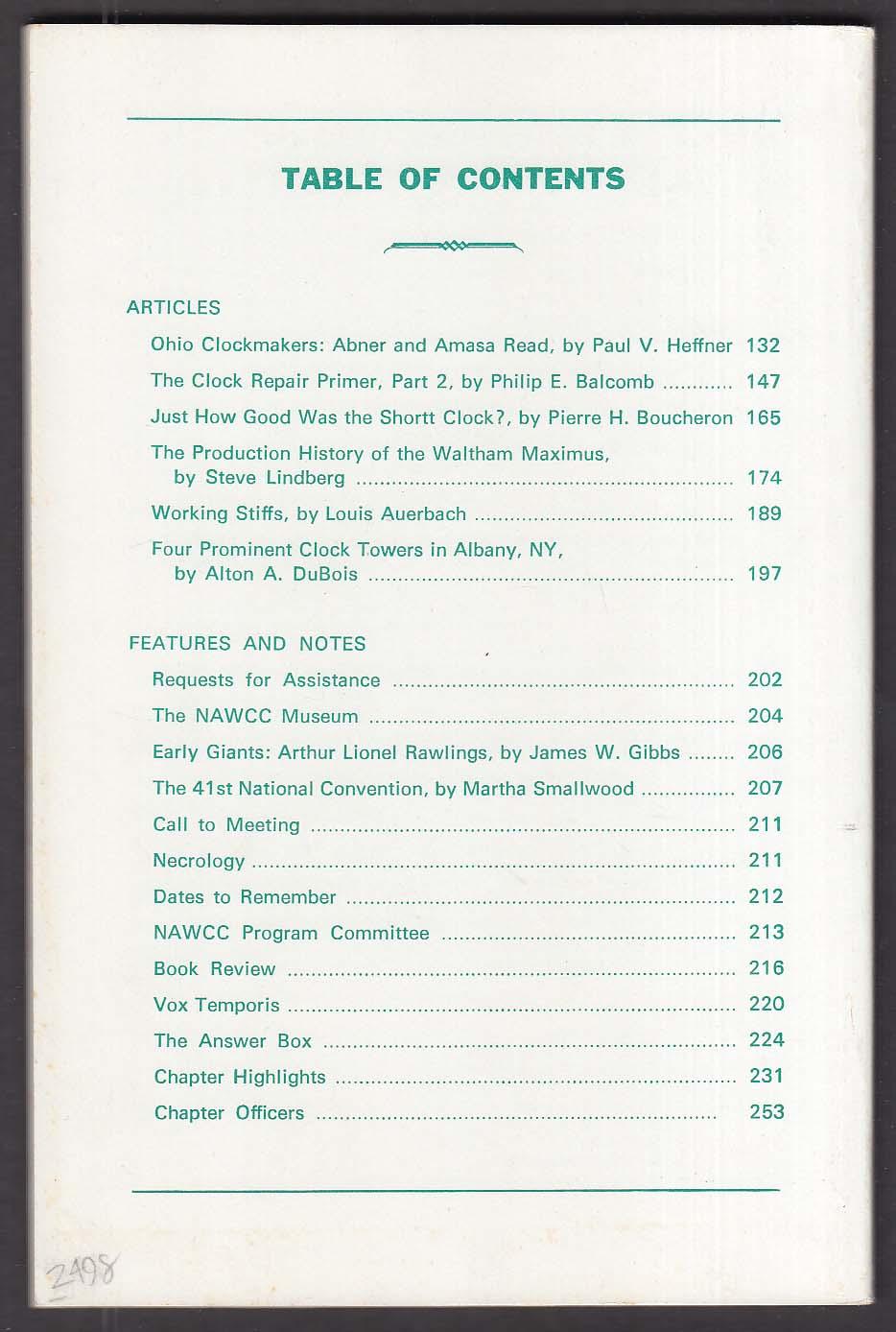 NAWCC Bulletin #235 Abner & Amasa Read Shortt Waltham + 4 1985