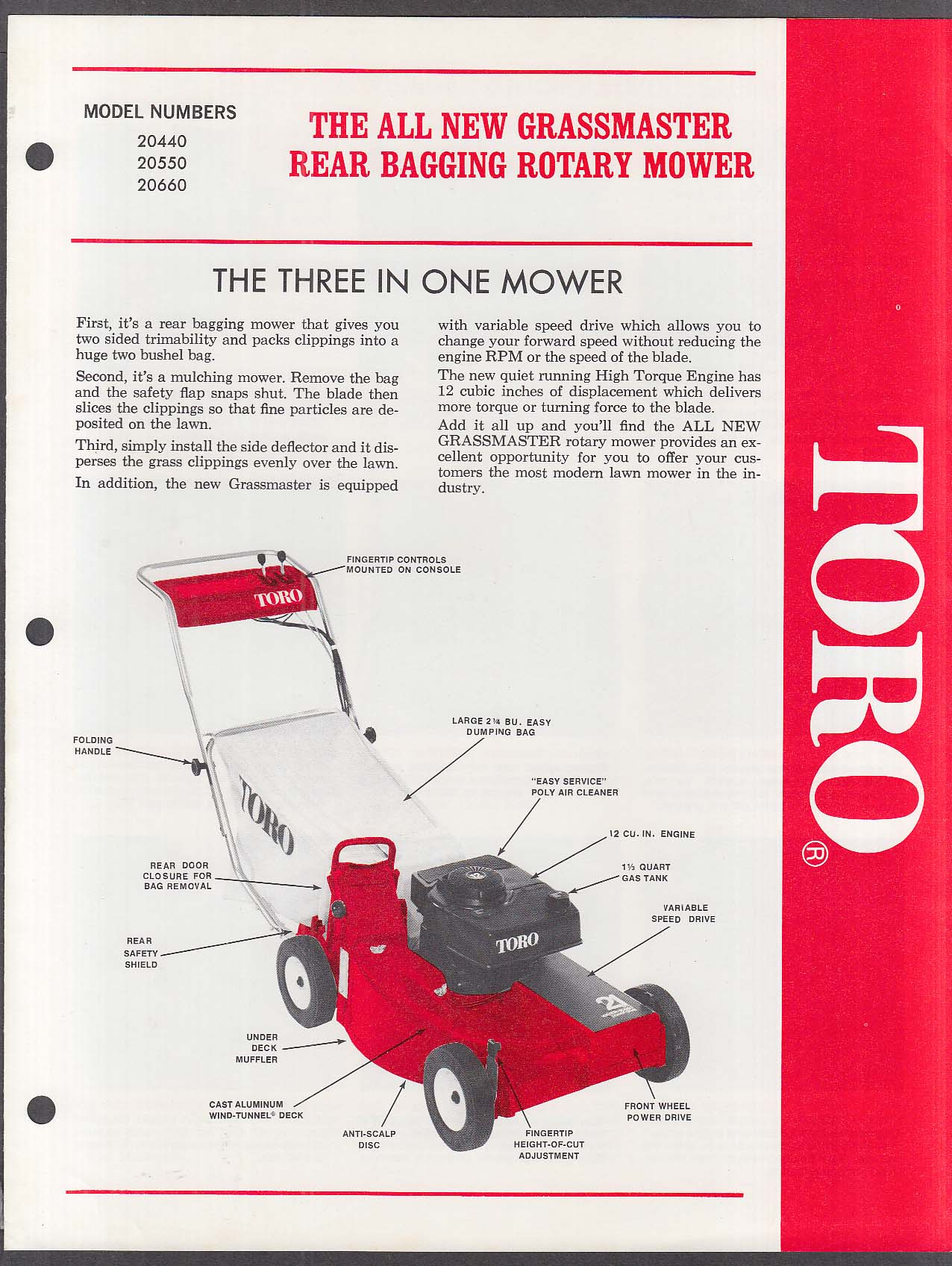 Toro Grassmaster Rotary Mower catalog folder 1974