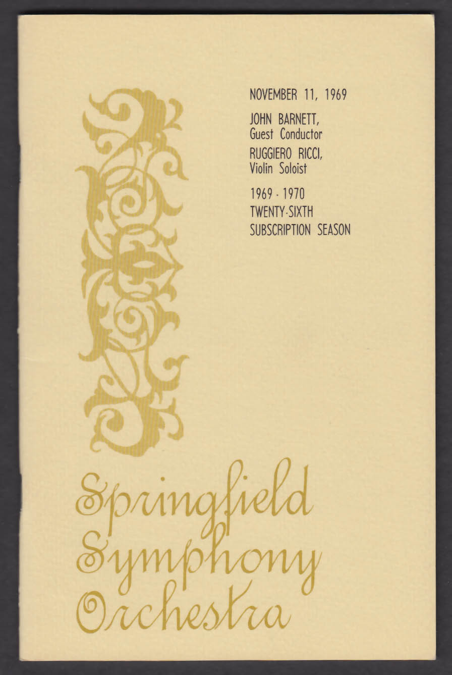 Springfield Symphony Orchestra Program 11/11/1969 SIGNED by Ruggiero Ricci