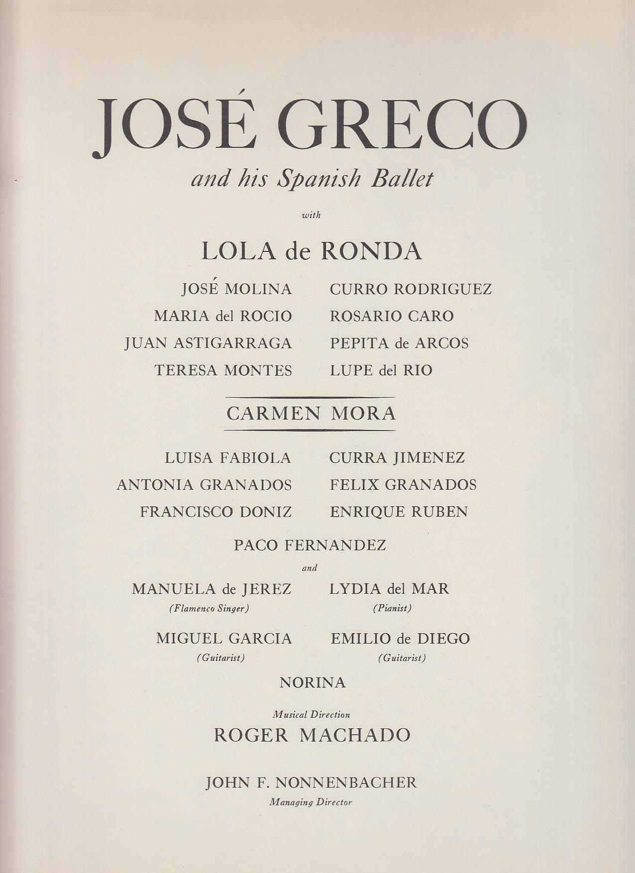Image for Jose Greco & Spanish Ballet program 1960s