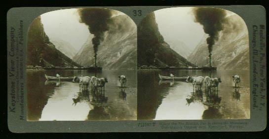 Steamship Naerofjord Norway 1890s stereoview