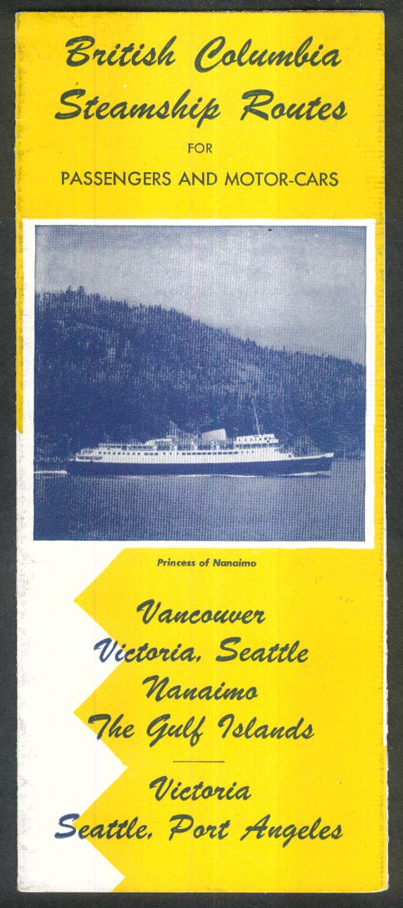 1953 British Columbia Steamship Routes folder
