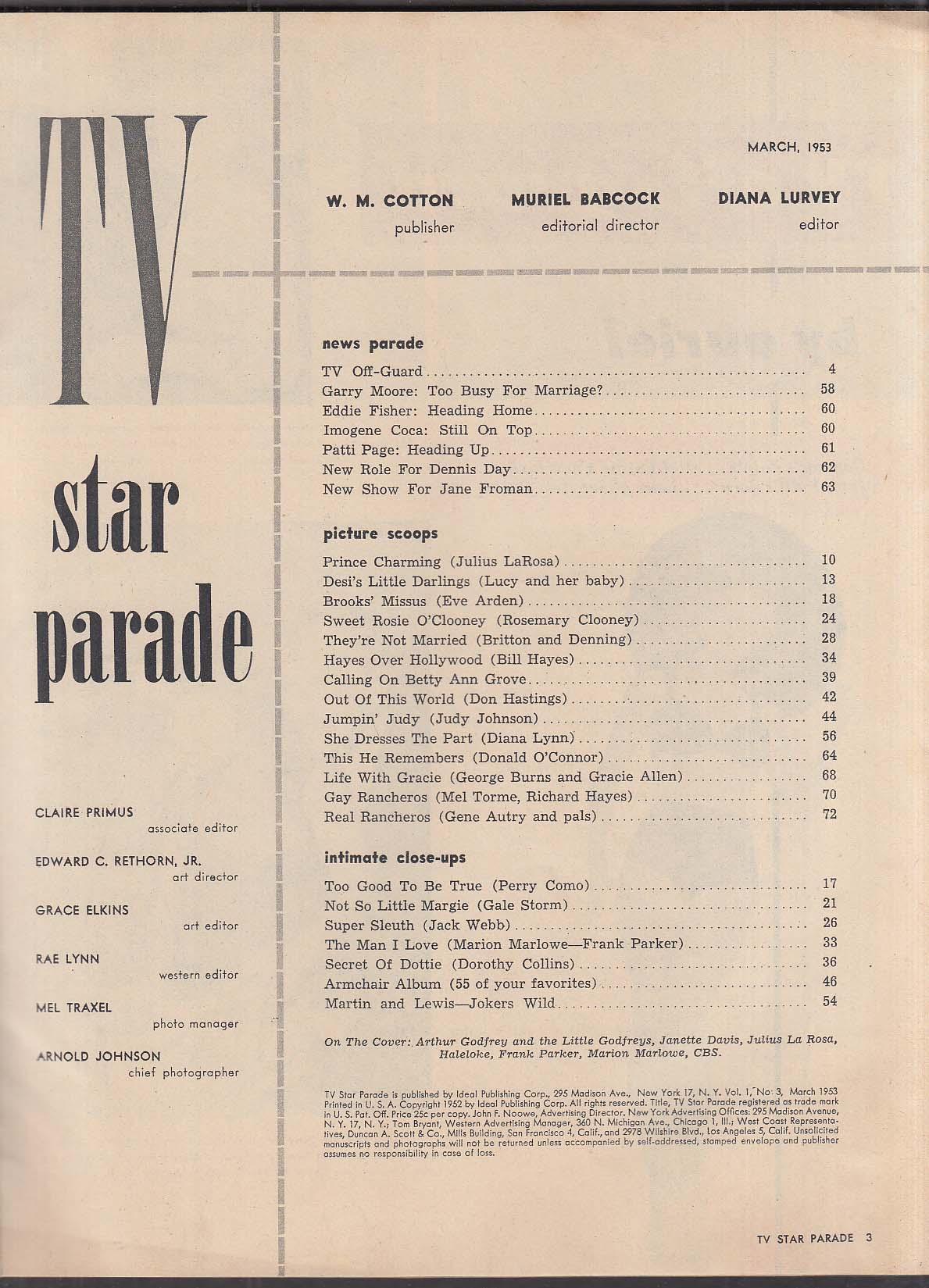 TV STAR PARADE Godfrey Como Lucy Martin & Lewis 3 1953