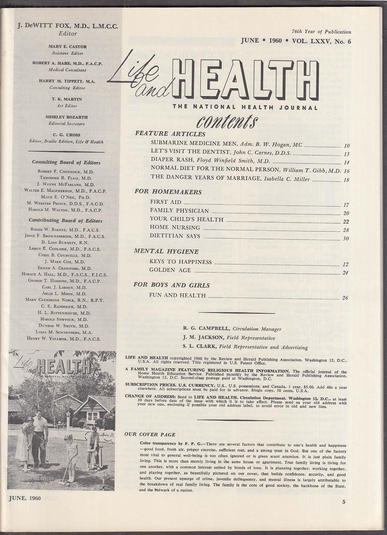 LIFE & HEALTH Admiral Hogan on Submarine Doctors 6 1960
