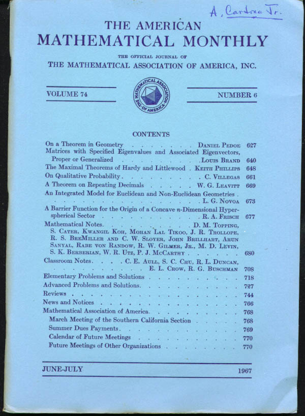 American Mathematical Monthly V74n6 6-7 1967