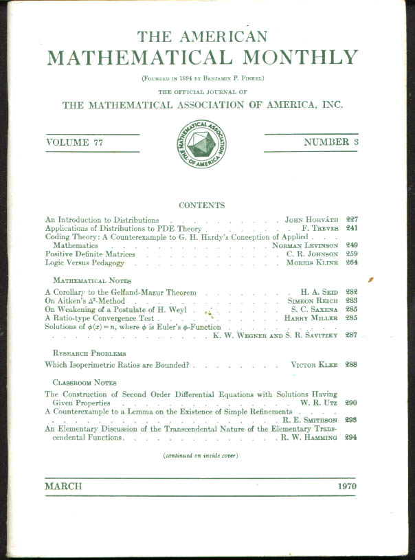 American Mathematical Monthly V77n3 3 1970