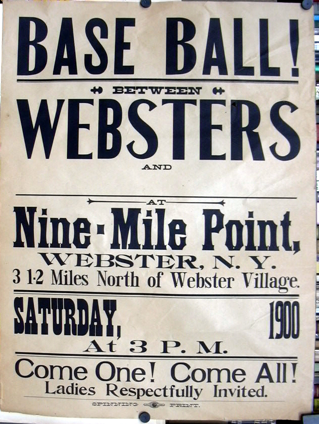 Baseball Websters Nine Mile Point Webster NY 1900 poster Ladies Invited