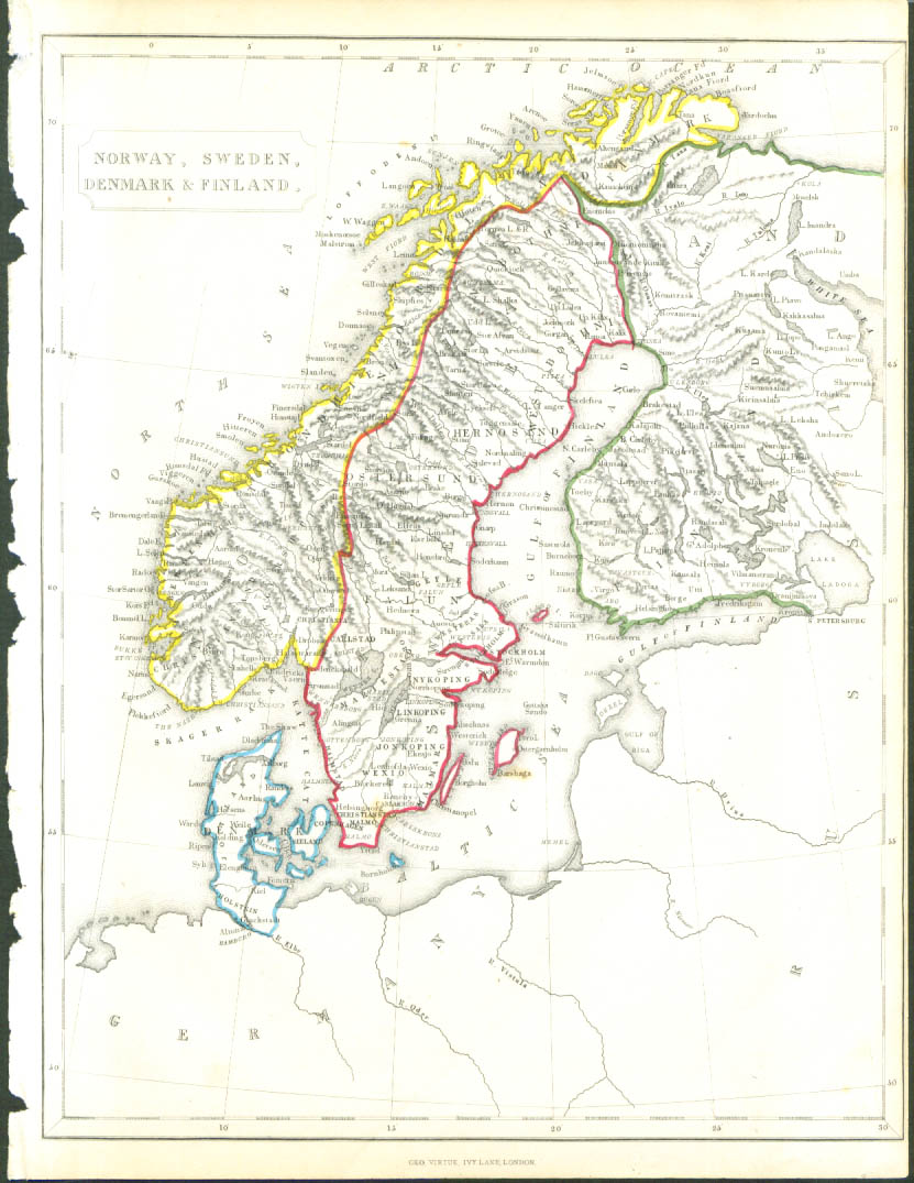1848 color map: Norway Sweden Finland Denmark