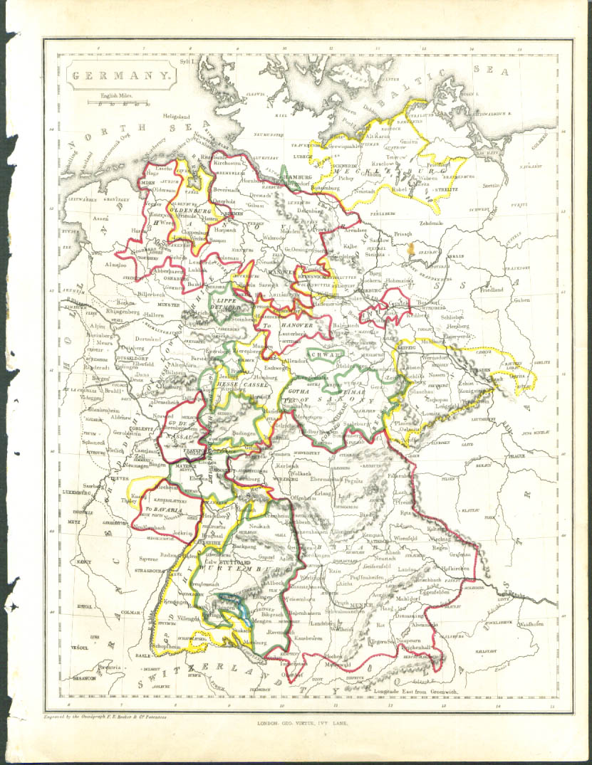 1848 color map: Germany between Prussia