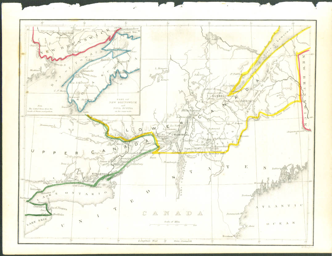 1848 color map: St Lawrence basin Canada
