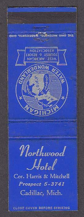 Image for Northwood Hotel Harris & Mitchell Cadillac MI matchcover