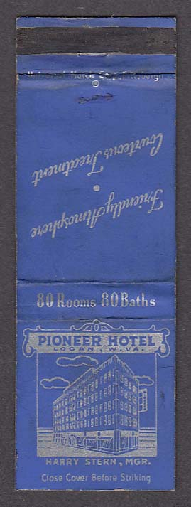 Image for Pioneer Hotel Logan WV Harry Stern Manager matchcover