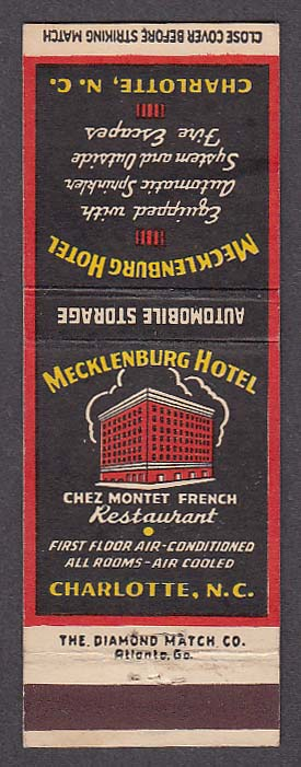 Image for Mecklenburg Hotel Chez Montet French Restaurant Charlotte NC matchcover