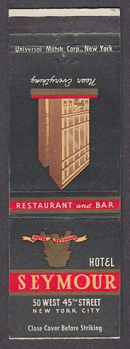 Image for Hotel Seymour 50 West 45th St New York City NY matchcover
