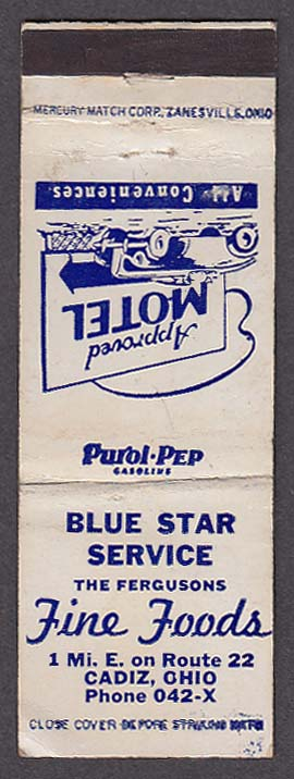 Image for Blue Star Service The Fergusons Fine Foods & Motel Cadiz OH matchcover