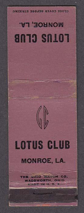 Image for Lotus Club Monroe LA matchcover