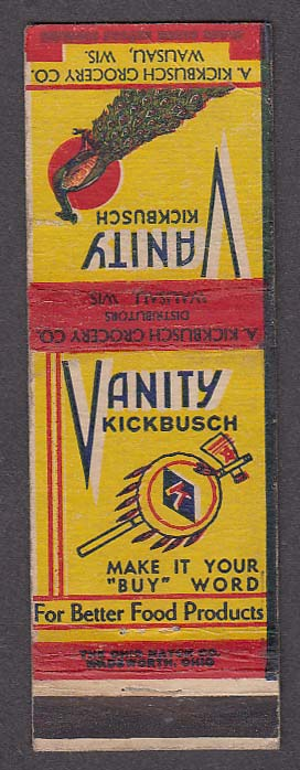Image for Vanity Kickbusch Grocery Co Wausau WI matchcover