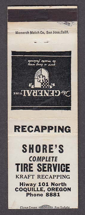 Image for Shore's Complete Tire Service Kraft Recapping Coquille OR matchcover