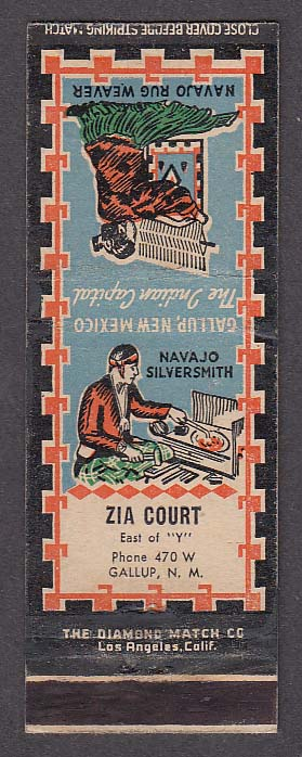 Image for Zia Court Gallup NM matchcover Navajo Silversmith & Rug Weaver