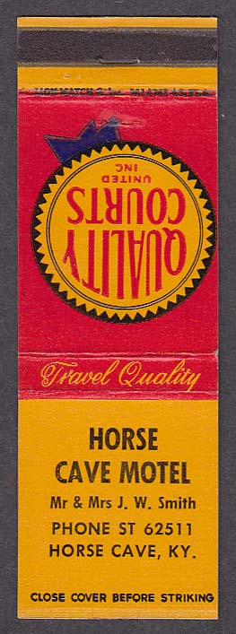 Image for Horse Cave Motel Horse Cave KY matchcover Mr & Mrs J W Smith Quality Courts