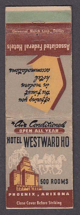 Image for Hotel Westward Ho Phoenix AZ matchcover Associated Federal Hotels