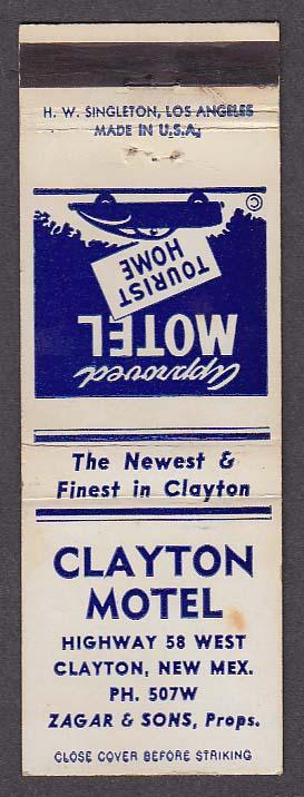 Image for Clayton Motel Clayton NM matchcover Zagar & Sons
