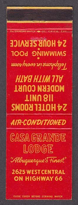 Image for Casa Grande Lodge 2625 West Central Albuquerque NM matchcover