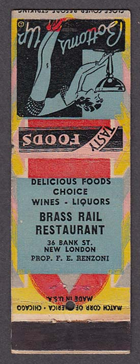 Image for Brass Rail Restaurant 36 Bank St New London CT matchcover