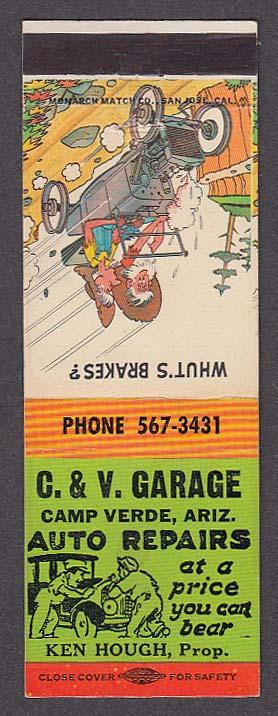Image for C & V Garage Camp Verde AZ Auto Repairs Ken Hough matchcover hillbilly cartoon