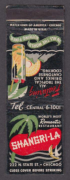 Shangri-La Tropical Drinks Cantonese Cooking 222 N State Chicago IL matchcover
