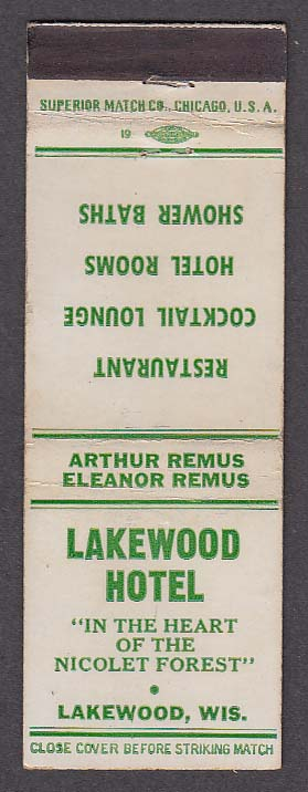 Image for Lakewood Hotel Nicolet Forest Lakewood WI matchcover