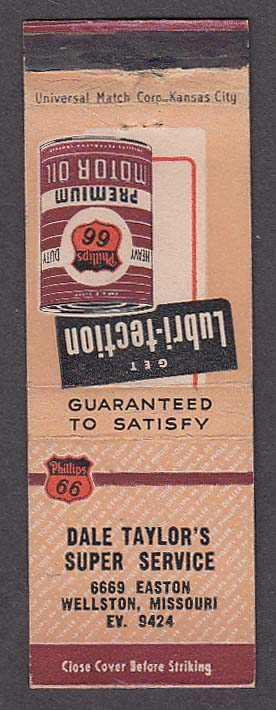 Image for Lubri-tection Oil Dale Taylor's Super Service 6669 Easton Wellston MO matchcover