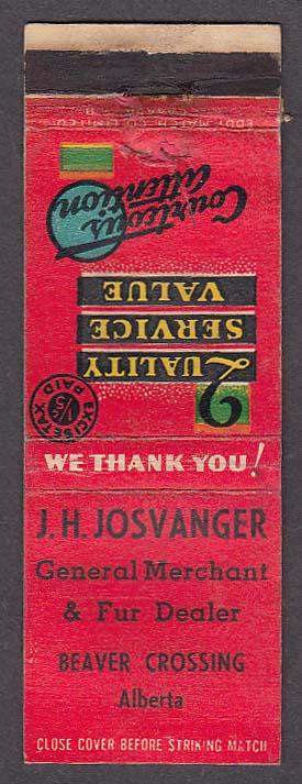 Image for J H Josvanger General Merchant & Fur Dealer Beaver Crossing Alberta matchcover