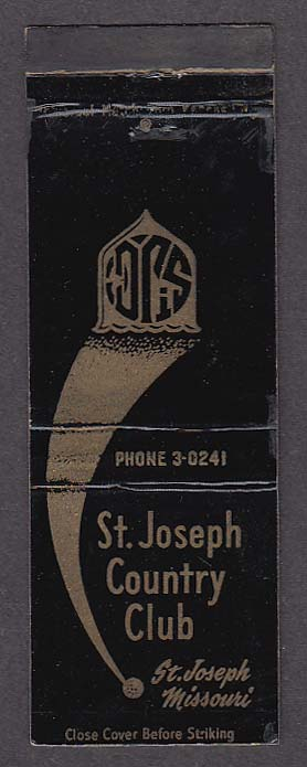 Image for St Joseph Country Club St Joseph MO matchcover
