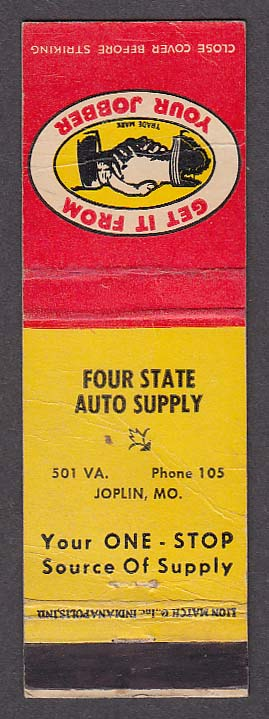 Image for Four State Auto Supply Joplin MO matchcover