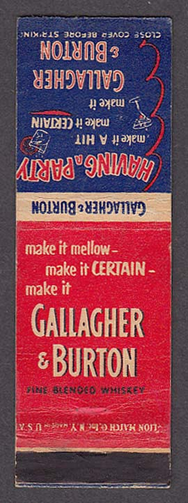 Image for Galagher & Burton Fine Blended Whiskey matchcover