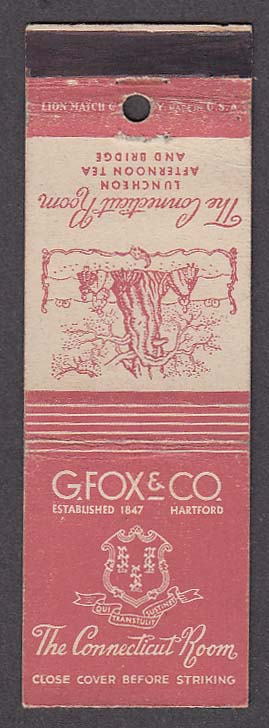 Image for G Fox & Co Hartford Connecticut Room matchcover
