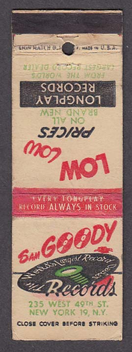 Image for Sam Goody Records 235 West 49th St New York NY matchcover