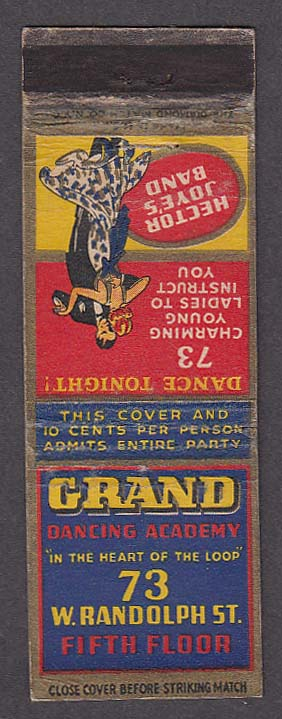Image for Hector Joye's Band Grand Dancing Academy 73 W Randolph St Chicago IL matchcover