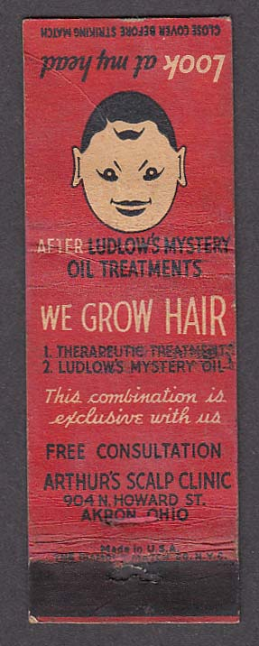 Image for Ludlow's Mustery Oil Treatments Arthur's Scalp Clinic Akron OH matchcover