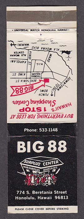 Image for Big 88 Surplus Center 774 S Beretania St Honolulu HI matchcover