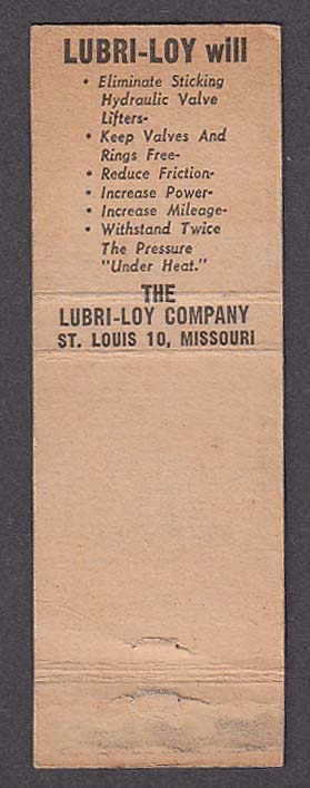 Lubri-Loy motor oil advertising matchcover