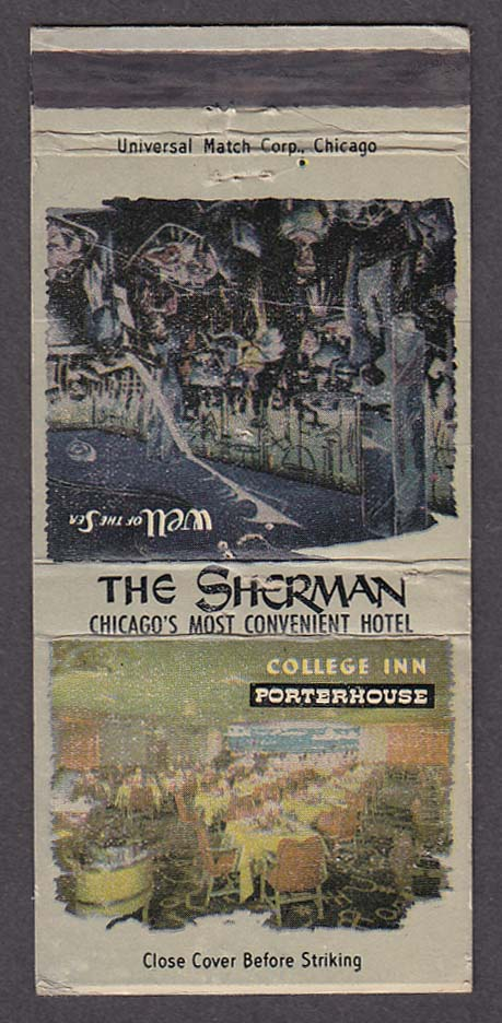 Image for The Sherman Hotel College Inn Porterhouse Chicago IL matchcover