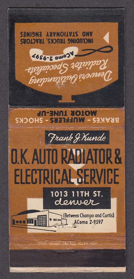 Image for OK Auto Radiator & Electrical Service 1013 11th St Denver CO matchcover